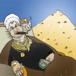 Ali Akbar Hashemi Rafsanjani sitting in his pile of stolen money آقای رفسنجانی بر روی تلی ازپول های دزدیده شده خود درازکشیده و لم داده