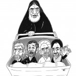 Khamenei pushing a pram ahmedinejad, karoubi, khatami and mousavi