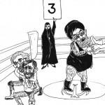مسابقه کشتی میان علی چلاق، اکبرکوسه، محمود گربه، و حسین سبزه