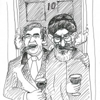 Gordon Brown with Khamenei outside 10 Downing Street  اتحاد نامقدس، میان بریتانیای جهانخوار و رژیم مرگبارتازی نژاد.