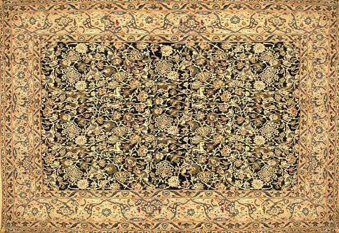 نمونه کوچکی از فرش ۷۰×۱۴۰ متری  بهارستان که از نخ های زر و سیم بافته و پرداخته شده بود. لشکریان اسلام آن را پاره پاره کرده، سواربرشترها، به مدینه بردند و هربخش را به ۲۰هزار دینار فروختند.