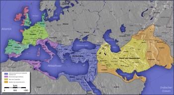 بخش های زرد و نارنجی ایران بزرگ را در دوران شاهنشاهی ساسانی نشان می دهد که به دست تازیان ویران و چپاول شد.