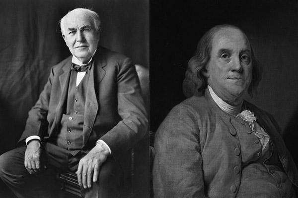 بنجامین فرانکلین و توماس ادیسون دو کاشف بزرگ که موجب روشنایی و پیشرفت عظیم صنعت و تکنولوژی در جهان شدند.