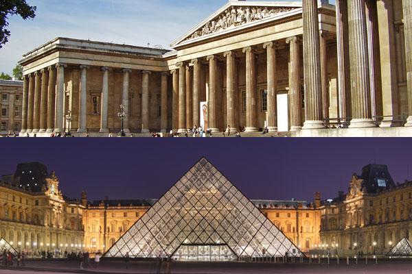 در بالا، موزه عظیم لندن،  و در پایین موزه عظیم لوور پاریس دیده می شود.
