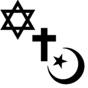 نشانه و علامت های ادیان ابراهیمی به ترتیب عبارتند از ستاره داوود، صلیب عیسی، و ماه و ستاره اسلام. نکته مهم این که مسلمانان نمی دانستند و تصور می کردند که ستاره از ماه کوچکتر است.