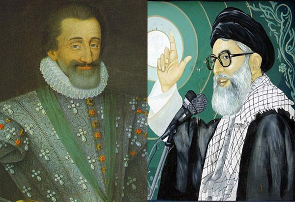 خامنه ای و هانری چهارم پادشاه فرانسه، دو دیکتاتور که با ریسمانی به الله و یهووا متصل بودند، و می توانستند بیماران را بهبود بخشند.