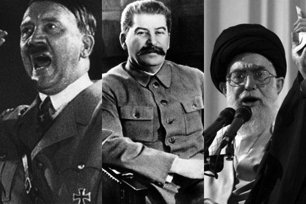 هیتلر،استالین، و خامنه ای سه دیکتاتور، سه خودکامه که در رأس هرم قدرت جای گرفته، و بقای خود را در نابودی دیگران دانسته اند.