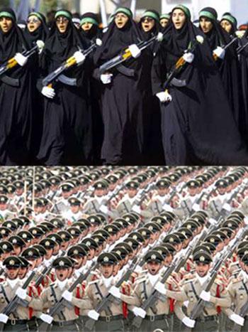 این همه لشکر آرایی، آن هم زنان چادر به سر، برای جنگ با کیست؟ دشمن خارجی؟ و یا سرکوبی مردم در بند ایران؟ رژیم جهل و جنون بودجه مملکت را تنها برای حفظ خود تلف می کند، در حالی که مردم در تنگدستی به سر می برند.