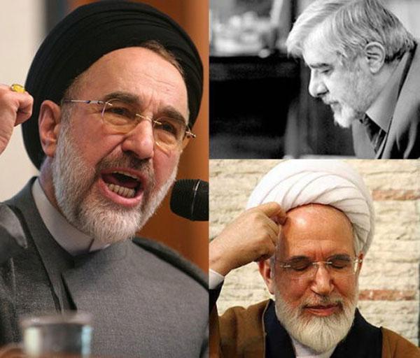 سه تفنگدار اسلام؛ خاتمی، موسوی، و کروبی. این سه در بقای حکومت ننگین اسلامی بر سر مردم ایران، با هم هم عقیده اند. تفاوتشان در اینست که خاتمی تلاش دارد  رژیم دست نخورده بماند، در جایی که دو دیگر مایلند نفرات تغییر کنند، ولی حکومت، اسلامی باشد.