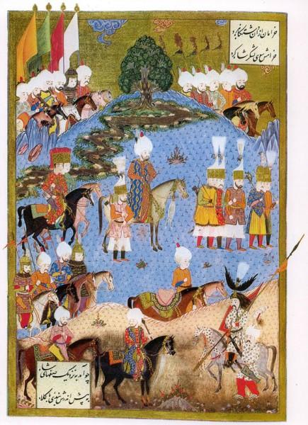 مینیاتوری که سلطان سلیمان و لشگرش را در نخجوان و در اواخر جنگ صفویه و عثمانی (تصویر مربوط به تابستان ۱۵۵۴ است) نشان میدهد.