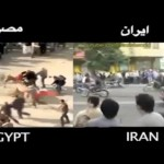 این دو تصویر از دو صحنه هم زمان و با شرایط یکسان انقلاب مصر و ایران را نشان می دهد.