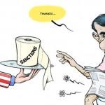 تحریم برای مردم است و ملتی را از پای در می آورد. ولی برای دولت مردان تحریم وجود ندارد. چنانچه آقای احمدی به دستمال توالت خود هم می رسد. ( البته اگر بخواهد خود را تمیز کند).