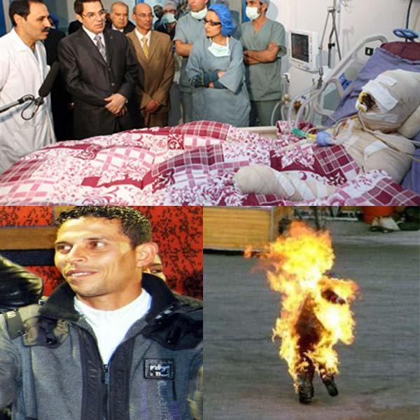 محمد بوعزیزی، جوان دست فروش تونسی که به اعتراض علیه ظلم و ستم رژیم، با بنزین، خود را به آتش کشید، و فتیله انقلاب تونس را روشن ساخت. این جرقه ای بود که مردم را به خیابان ها کشاند، و دولت را غافلگیر کرد. آنگاه، مردم به تظاهرات و همبستگی خود آن چنان ادامه دادند تارژیم سقوط کرد.