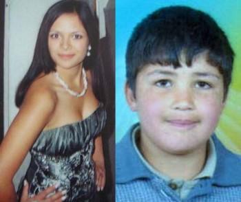 سمت راست، حمزه علی الخطیب نوجوان ۱۳ سیزده ساله ای که به دست مزدوران رژیم سوریه با شکنجه و ضرب و شتم آش و لاش شده، سمت راست کتیا کورن دختر ۱۹ ساله یوکراینی است که به دلیل شرکت در نمایش ملکه زیبایی سنگسار شد.