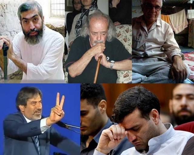 زندانیان در بند دیوان از راست به چپ، و از بالا به پایین عبارنتد از:۱- ارژنگ داودی، ۲- محمد ملکی، ۳- آیت الله کاظمینی بروجردی،  ۴- عبدالله مؤمنی، و ۵- دکتر مصطفی بادکوبه ای.