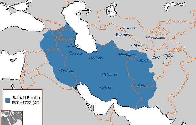 این نقشه ایران بزرگ را در دوران صفوی از ۱۵۰۱ تا ۱۷۲۲ را نشان می دهد. دست توانای بیشتر پادشاهان این دودمان، ایران فراموش در تاریخ و از دست رفته پس از یورش تازیان را دوباره زنده کرد، و بدان قدرت و شکوه جهانی بخشید.
