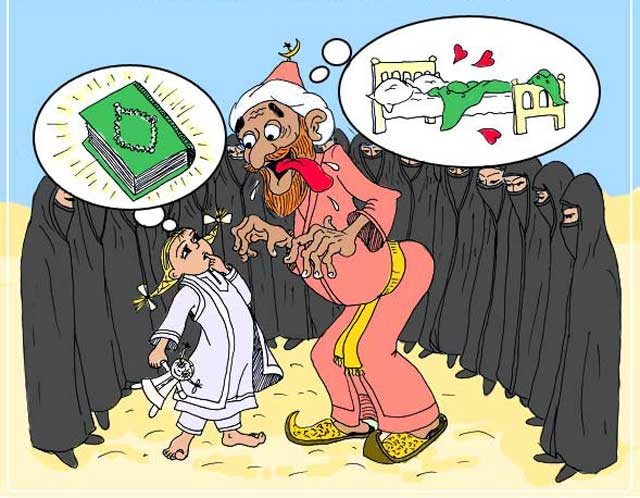 در تصویر عایشه خردسال را مشاهده می کنید که توسط محمد ابن عبدالله در حال شستشوی مغزی داده شدن می باشد، عایشه در شش سالگی به عقد محمد درآمده و در ۹ سالگی با وی همبستر شد، اگر محمد در دنیای امروز زندگی می کرد بدون شک به جرم بچه بازی و کودک آزاری تمام عمرش را در زندان سپری می کرد، چگونه چنین شخصیت مریضی می تواند فرستاده خداوند باشد؟