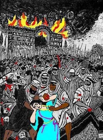 نقاشی گویای چگونگی حمله تازیان افسار گسیخته به ایران و کتابخانه هایش و بانوان بی گناهش می باشد. بیهقی در کتابش می نویسد پس از حمله اعراب تا شش ماه آب حمام های هرات با کتاب های نویسندگان ایرانی می سوخت. اعراب زنان ایرانی را به عنوان بردگان جنسی خرید و فروش می کردند، ستم هایی که اعراب به فرهنگ و هویت ایرانیان روا داشتند غیر قابل بخشش و فراموش ناشدنی است، حال چگونه یک ایرانی می تواند مسلمان و دنباله رو تازیانی باشد که سرزمینش را ویران کردند؟