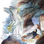 در فرتور محمد در حال ملاقات با جبرئیل دیده می شود، مسیحیان پیش از مسلمانان و محمد چنین فرشته ای را خلق کرده اند و او را گابریل می نامند. محمد نیز که از سلمان تازی درباره مسیحیت آموخته بود و گابریل را می شناخت، از گابریل مسیحیان برای خودش رفیق گرمابه و گلستانی خلق کرد به نام جبرئیل که همواره با او و در کنارش بوده است.