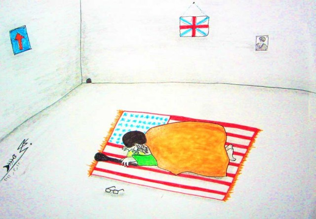ولی وقیه بامداد، شامگاه، وقت و بی وقت حتی در حین کسیدن بافور، روی پرچم آمریکا به درگاه الله مدینه سجده می گذارد و می خواهد که او هم بتواند گرین کارتی داشته باشد، و سری هم به لاس وگاس بزند. (عکس از بهی لر)