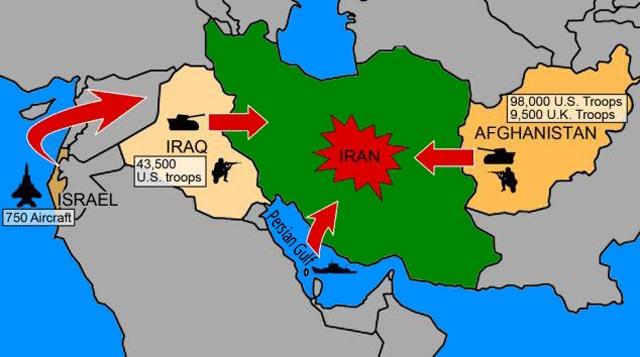 این تصویر نشان می دهد که چگونه ایران در تیر رس  حمله کشورهای غربی است. وانگهی، این کشورها در بسیاری نقاط مانند قبرس، قطر، و کشورهای دیگر پایگاه نظامی دارند که در اندک زمان می توانند  هر نقطه از ایران را بمباران کنند.