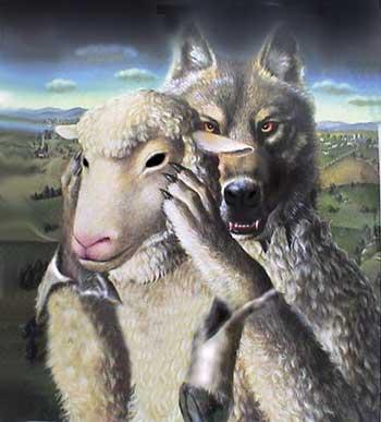 فرتور نشان دهنده یادواره مشهور پارسی است که می گوید: فلانی گرگ در لباس میش است، اصلاح طلبان و حامیان ایشان همانند گرگ هایی هستند که لباس بره ها را پوشیده اند و منتظرند تا روز دریدن مردم فرا رسد.