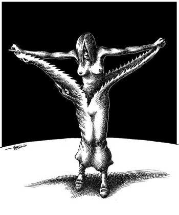 فرتور کارتن هنرمند گرامی مانا نیستانی را که برای علیا المهدی دختر مصری کشیده است، نشان می دهد. شیرزنانی چون گلشیفته فراهانی، با برهنگی تن شان، جامه زن ستیزی و قوانین ضد زن اسلامی را دریده و تابو شکنی کرده اند.