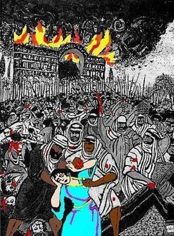 نقاشی چگونگی مسلمان شدن ایرانیان را به روشنی بیان می کند، اعراب بیابانگرد شهرها را به آتش کشیدند و غارت کردند و زنان را به کنیزی و بردگی مجبور ساختند و بدان ها تجاوز کردند. این است آغوش باز ایرانیان در مقابل اسلام که آخوندهای بی سواد مدام از آن دم می زنند.