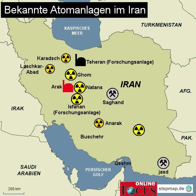 مراکز فعالیت های اتمی ایران در این تصویر دیده می شود. این مراکز عموماً با افکار جنایت بار رژیم، به طور عمد در کنار و نزدیک شهرها و محل سکونت افراد برپا شده، و هرنوع حمله نظامی می تواند دهها هزار نفر از هم میهنان ما را به خاک و خون کشاند.