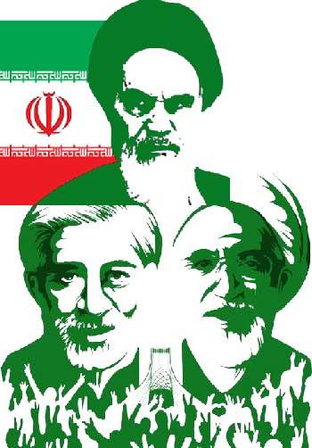موسوی سبز اسلامی با پیر جمارانش خمینی کبیر در این فرتور دیده می شوند.