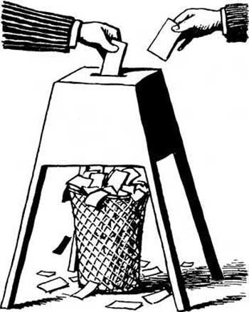 مضحک ترین بخش این نمایشنامه فانتزی، رأی دادن مردم به یک سطل خاکروبه، است آنچنانی که در تصویر می بینید.