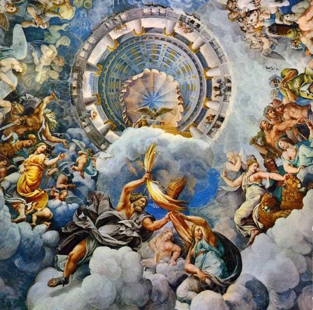 امروزه با تکیه بر علم زیست شناسی و شواهد علمی موجود که حقانیت فرگشت را ثابت می نمایند، پندار خلق جهان به دست الله یا هر خدای دیگری، چون خدایان یونانی که در فرتور می بینید به افسانه ها پیوسته اند.