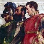 فرتور اسکندر گجستک را پس از شکست دادن داریوش سوم و در حالی که مشغول سخن گفتن با خانواده داریوش سوم است، نشان می دهد. اسکندر به قدری شیفته و دلباخته ایران و فرهنگ ایرانیان شده بود که همچون پادشاهان هخامنشی با مردم رفتار می کرد و برای مثال به زنان باردار هدیه می داد.