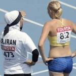 آیا یک بانوی زجر کشیده ایرانی با آن پوشش مسخره و دست پاگیر اسلامی می تواند در مسابقات شرکت کند؟