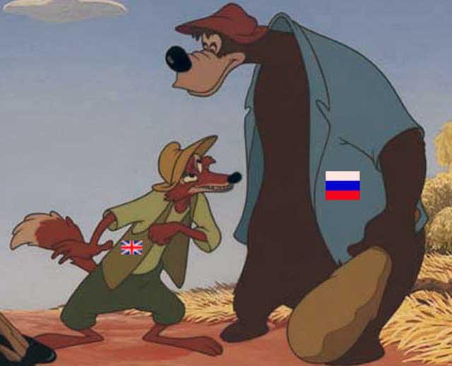 اتحاد میان روباه و خرس، با همکاری میش های به پوشش گرگ درآمده، بازمانده سرزمین ما را پاره پاره کرده و آن را به ویرانی کشاندند. اکنون چند دهه است که ایران عزیز ما به دست روس ها و انگلیسی ها در حال غارت و چپاول شدن و ویران گشتن می باشد.
