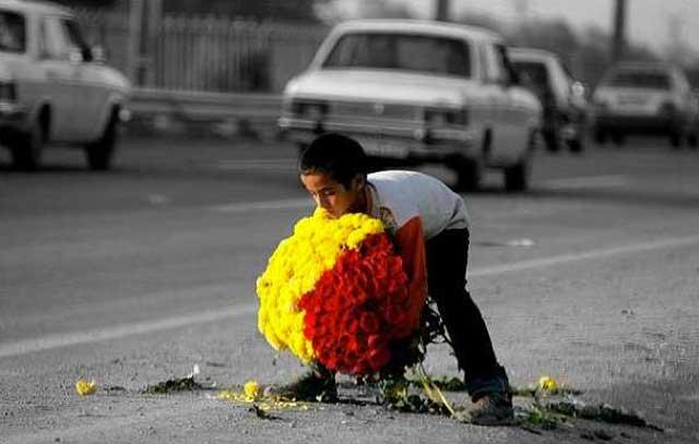 در صورتی که ایرانیان خارج از کشور همین شیوه کردار را ادامه دهند که از سی و سه سال گذشته در پیش گرفته اند و نسبت به هم میهنان خود در خارج از کشور غریبه و بی تفاوت باشند و از یکدیگر فرار کنند و نتوانند زیر یک سقف و یا در یک مکان دور هم جمع شوند؛ ایک کودک گل فروش بینوایی که در فرتور می بینید در فقر و فلاکت و درماندگی خواهد مرد و ایران هرگز رنگ آزادی را نخواهد دید.