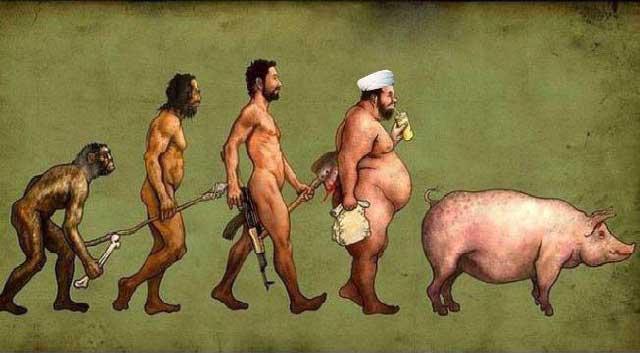 این فرگشت جانوران را در ایران نشان می دهد  از میمون به انسان که یک فرگشت پیش رونده است، و از انسان به آخوند، و سرانجام به خوک که فروکشی انسان و بازگشت به حیوان بودن را  نشان می دهد.