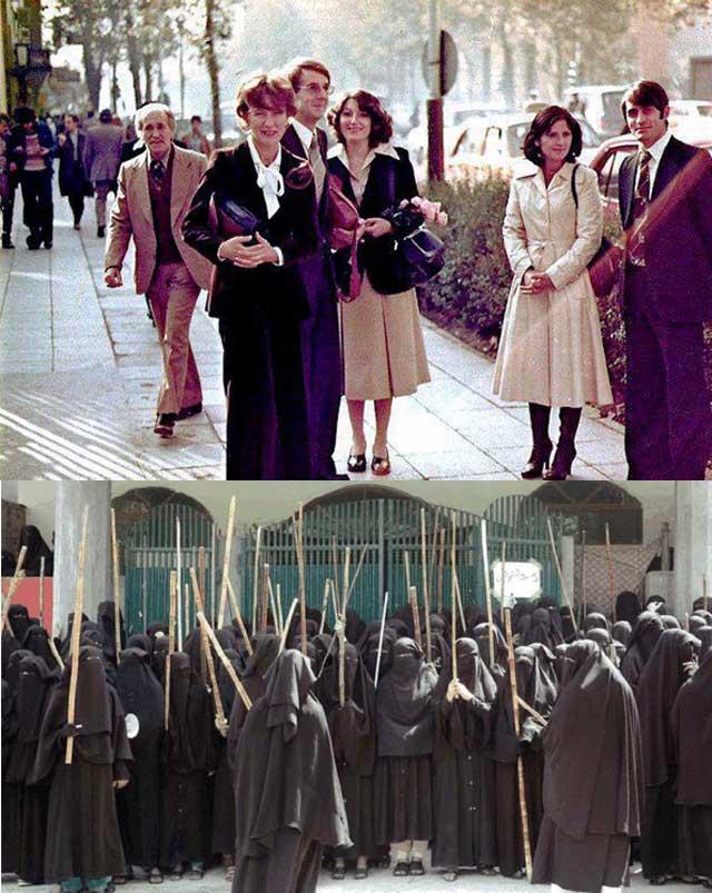 در این فرتور، جامعه پیشرفته بانوان ایران پیش از روی کار آمدن آخوند تازی نژاد و شماری از زنان خردباخته افغانستان ذوب شده در اسلام ناب محمدی طالبان  را نشان می دهد.