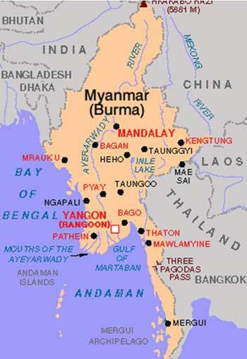 این نقشه میانمار (برمه) است که نشان می دهد در میان کشورهایی چون هندوستان، بنگلادش، چین و لائوس جای گرفته است.