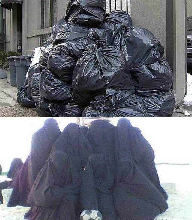 زن در اسلام، یعنی تپاله و کیسه آشغال.  اینست کرامت اسلام در باره زنان