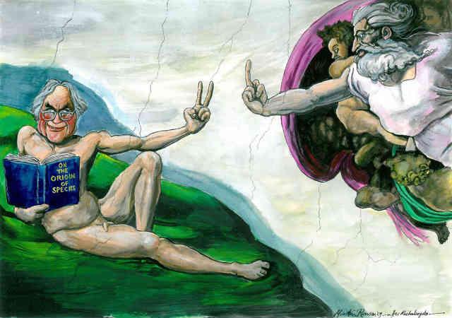 فرگشت یا تکامل نظریه ای است علمی که با تکیه بر اسناد متعبر، با قدرت هر چه تمامتر وجودِ خدایی که زمین را در شش روز آفریده را رَد می کند. دینداران با علم و دانشی که خدایان موهوم شان را به زیر سوال می برد، مشکلاتی عمیق و ریشه ای دارند.
