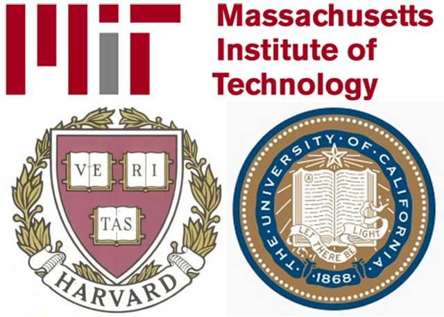 نشانه و آرم سه دانشگاه هارواد، ام آی تی، و برکلی در آمریکا