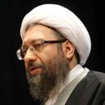 فرتور آخوند بی سواد و بی شرافت، لاریجانی را نشان می دهد که اعدام را یکی از ارزش های والای اسلام و مسلمانان می داند.