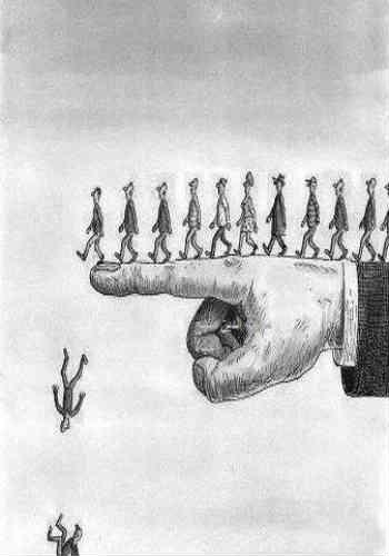 مردمی که تقلید پیشه کرده و کورکورانه مسائل را دنبال کرده و بدون تفکر و مطق از قوانین اجتماعی و... پیروی می کنند، فرجام شان همچون مردمان در فرتور است که به دره جهالت و عقب افتادگی سقوط خواهند کرد.