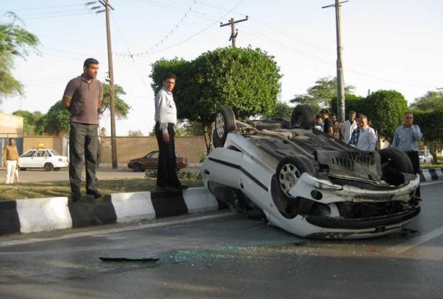 این صحنه ای از یک تصادف کشتارگر در شیراز است.