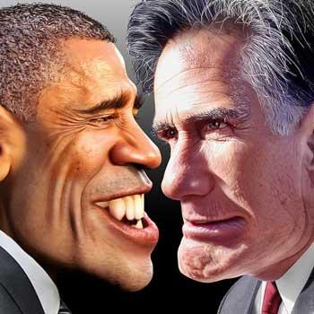 اوباما و همتای مبارزه انتخاباتی او میت رامنی