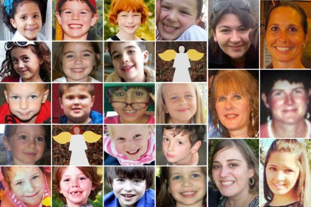 ۲۰ کودک بیگناه که قربانی یک دیوانه شدند و در دبستان سن هوک در شهر نیوتون از ایالت کانتیکات آمریکا جان باختند.