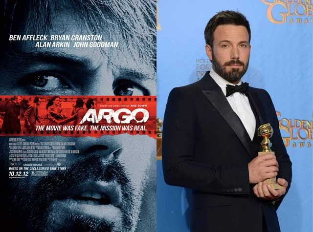 در این فرتور، بن افلک Ben Affleck کارگردان زبردست فیلم آرگو، دومین جایزه یعنی گلدن گلوب Golden Globe را دریافت می کند. پیش بینی می شود این فیلم در ماه فوریه آینده جایزه اسکار را نیز ببرد. در این فیلم تونی مندز Tony Mandez, فرستاده سی آی ای، به عنوان رهبر گروه فیلمبرداری از کانادا، نقش اصلی و اساسی را داشته است.