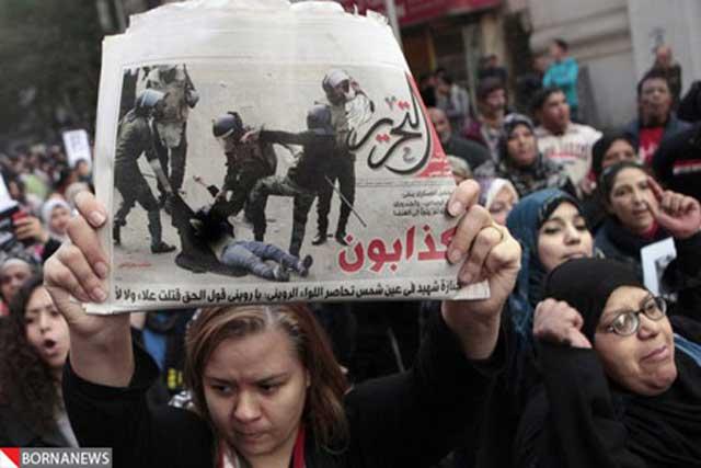 تظاهرات گسترده و عظیم زنان در قاهره  در مخالفت با قوانین ارتجاعی زن ستیز رژیم اسلامی هاکم بر مصر