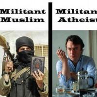 فرتور زنده یاد کریستوفر هیچنز را به عنوان یک خداناباور مبارز، با یک فرد مسلمان فاناتیک و یک زن خردباخته مسیحی مقایسه می کند!